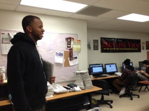 EIC Aaron Washington surveys The Skyline View newsroom during print production #3 on February 26, 2014.